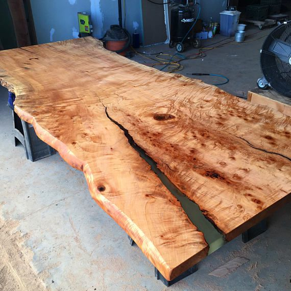 Highly Figured Live Edge Maple Slab Dining Table Conference
