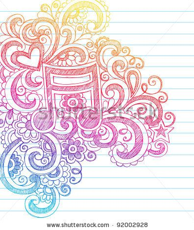 Music Note Sketchy Back to School Doodles with Swirls Hearts and Stars Notebook Doodle Vector Illustration Design Elements on Lined Sketchbook Paper Background
