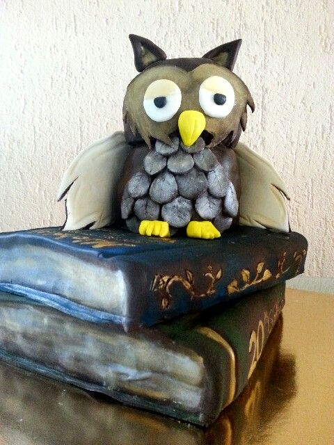 Cake#owl#book#chocolate#caramel#birthday#Czech#miss.enemy