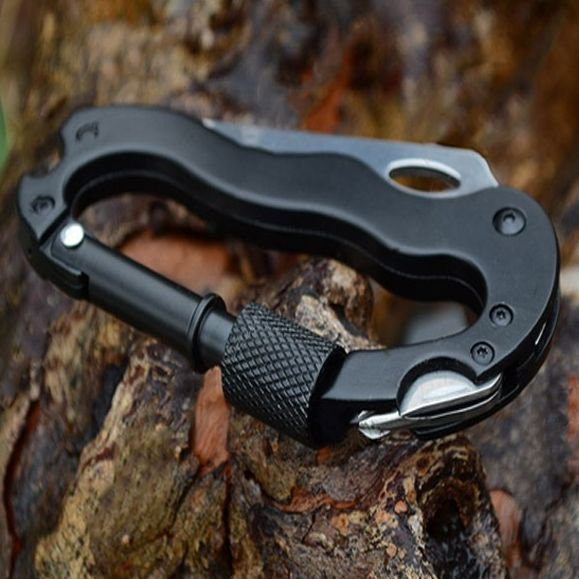 5 in 1 Carabiner Tool Item Material: Stainless Steel + Aluminum Alloy Item Color: Black (As Pictures Show) Item Dimensions: 18*6cm Item Weight: 80g (Approx) 5 in 1 function: 1. Carabiner Hook with scr