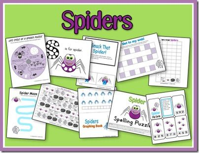Spider theme unit pack {free} from: A Teaching Mommy
