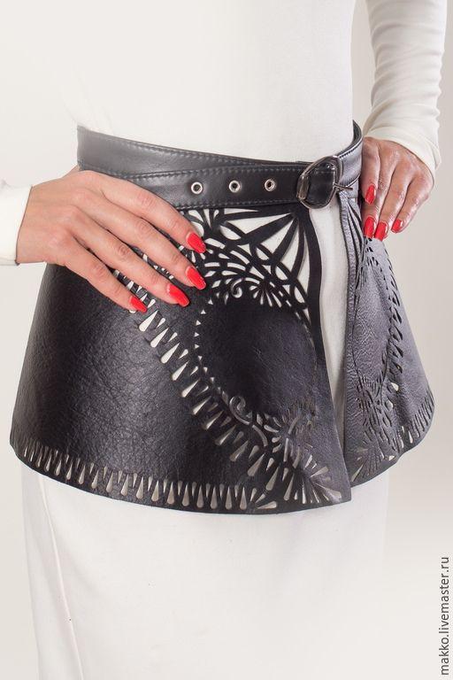 Купить Баска кожаная перфорированная 5000006 - черный, орнамент, пояс женский, пояс ручной работы