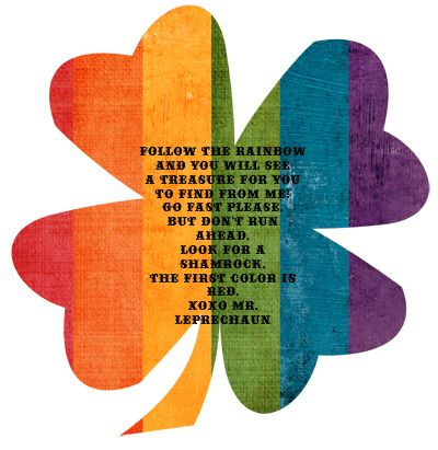 """I am planning a """"Leprechaun Treasure Hunt"""" using these shamrocks for St. Patrick's Day in my preschool class. I will hide the clues (shamrocks) throughout the class, or in the backyard (depending on the weather).The kiddos will follow the colors of the rainbow starting with the rainbow colored shamrock, then red, orange, yellow, green, blue & purple. At the end of the rainbow, a treasure awaits! I haven't filled the treasure chest yet, but check back on Saturday and I'll share my ideas…"""