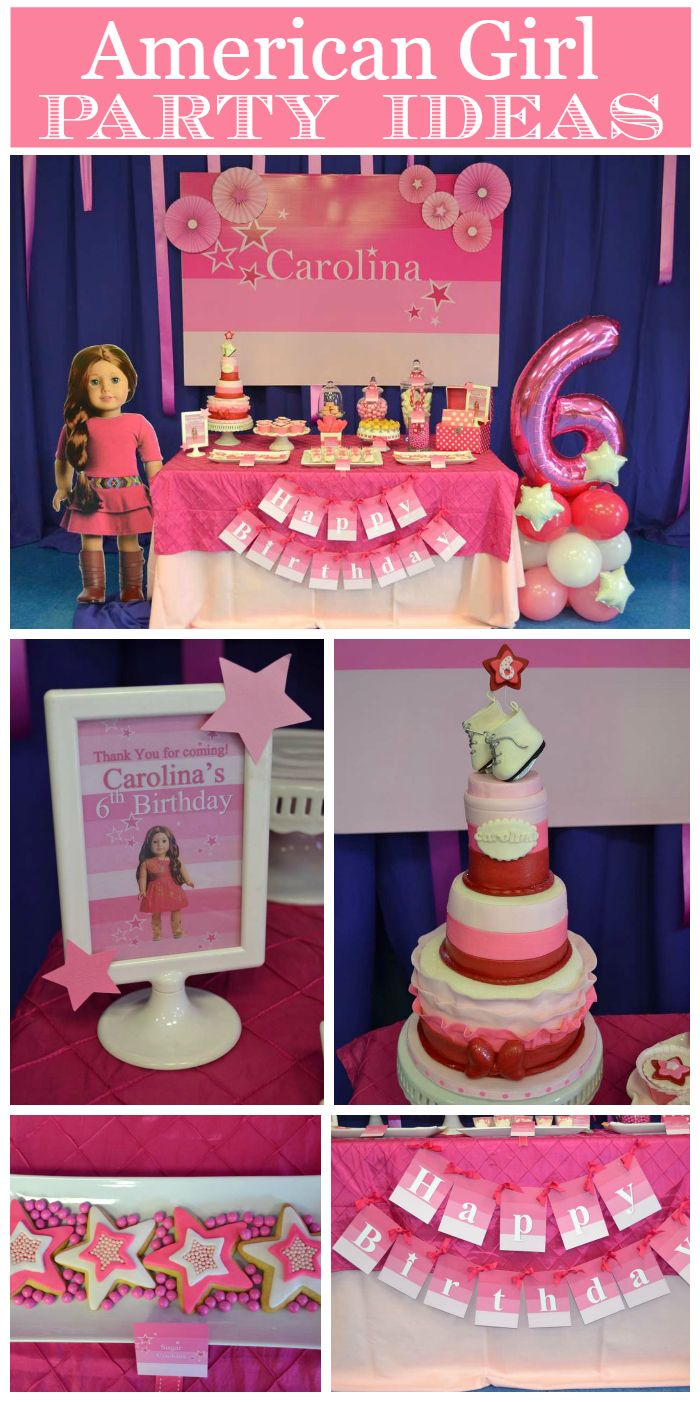 A pink American Girl birthday party with a fantastic backdrop and dessert table!  See more party planning ideas at CatchMyParty.com!