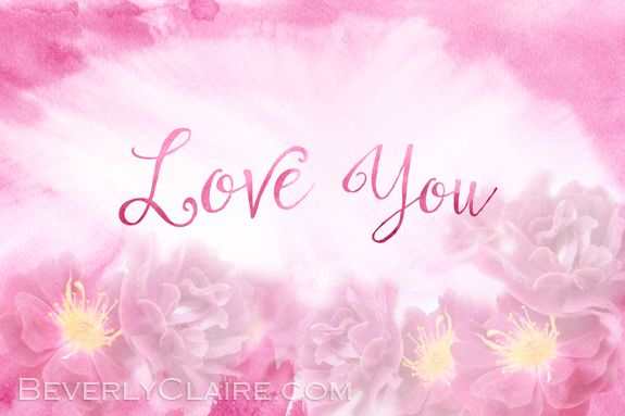 Love You Dark Pink Roses with Watercolor Background by Beverly Claire Fine Art. See before & after - http://bit.ly/1xLElyv #LoveYou #pink #roses #watercolor #Spring #texturedphoto