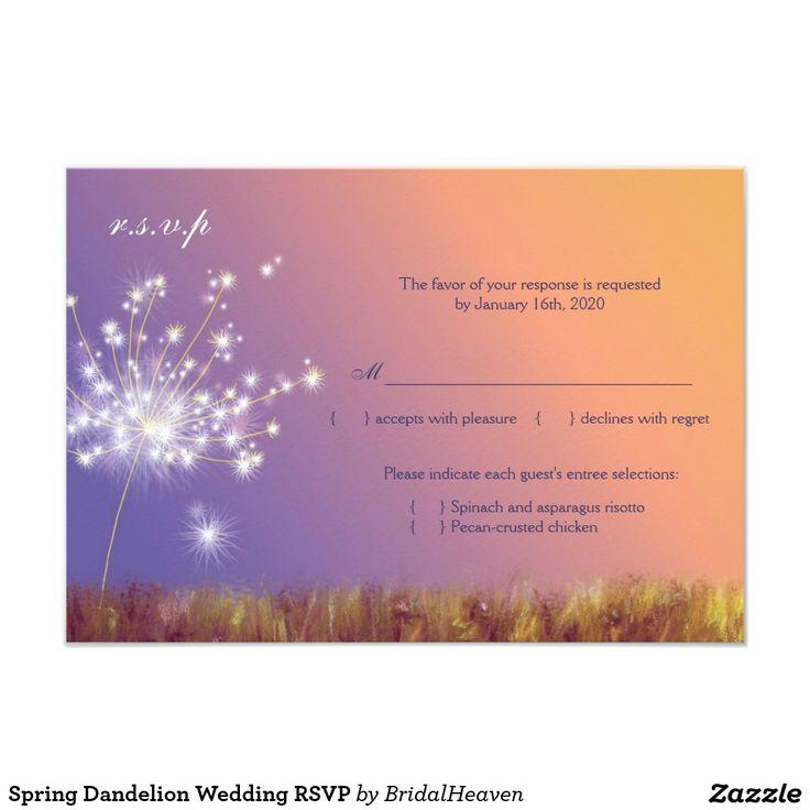 proper response time for wedding rsvp%0A Spring Dandelion Wedding RSVP Card