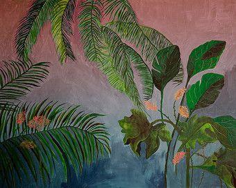 Azul giclee de la selva ilustración impresión por artandpeople