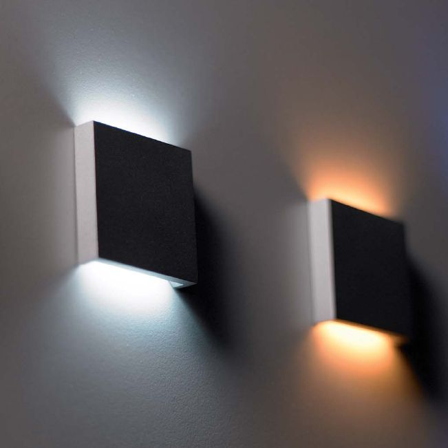 q2 led semi recessed wall light