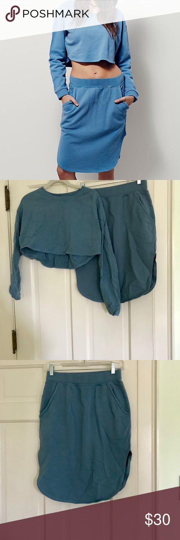 Free People Moon Beams Skirt Set, XS Free People moon beams set in mystic blue size xs. Like new, in excellent condition. Comfortable sweatshirt material (100% Cotton), Top is cropped, skirt has elastic waistband). Waist approx 13 inches across when flat and unstretched; approx 22 inches long. Free People Skirts Skirt Sets