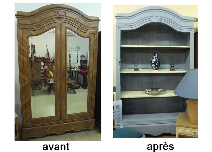 ancienne armoire relookee en bibliotheque diy. Black Bedroom Furniture Sets. Home Design Ideas