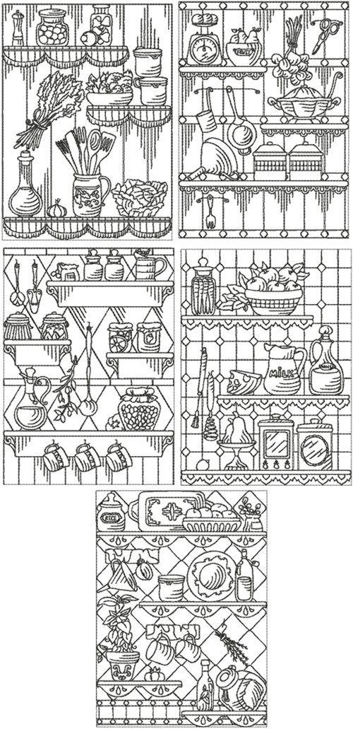 Kitchen Redwork Set I