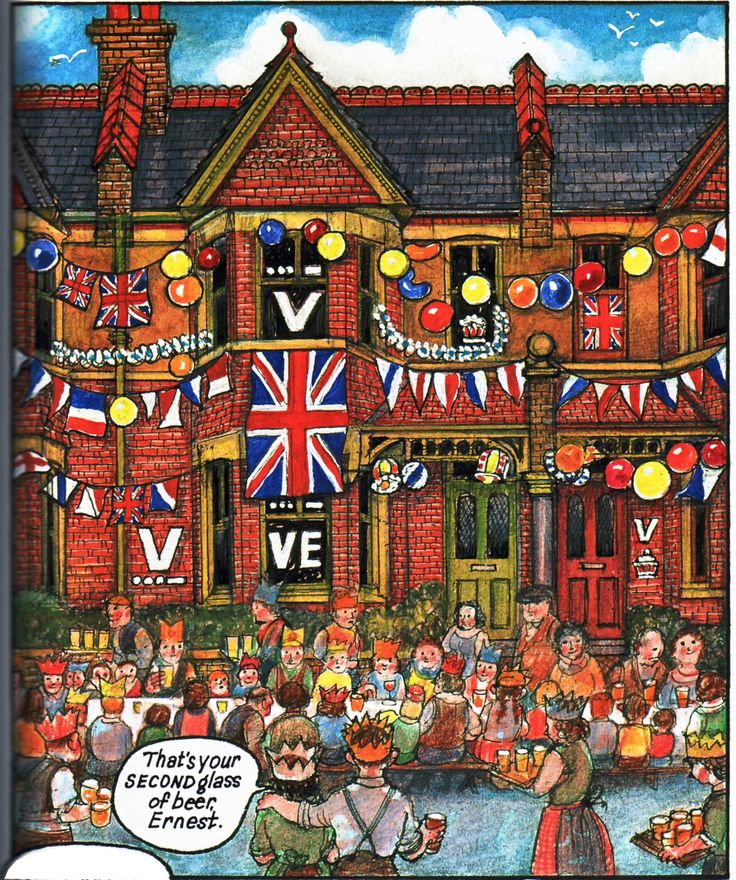 Raymond Briggs - Ethel & Ernest A True Story (about his father and mother) - VE Day (p.55 - compare with nos. 3, 8 & 17) (9 of 19)