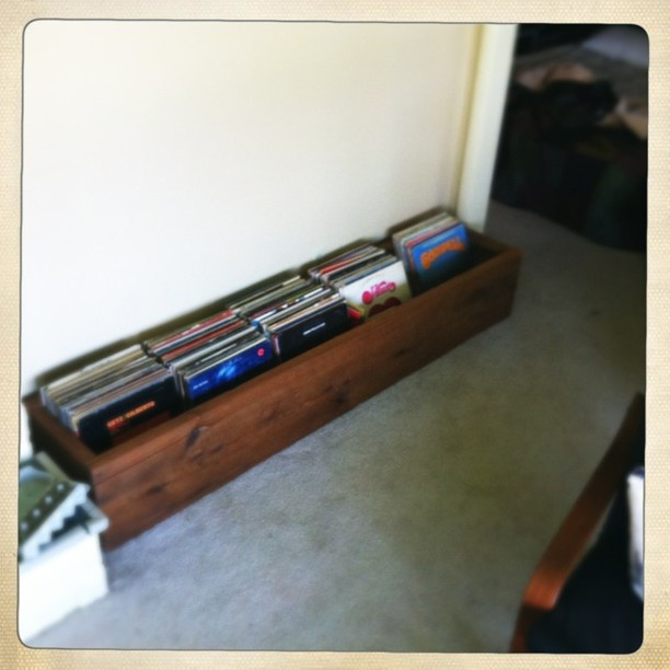 my reclaimed wood record box project completed.