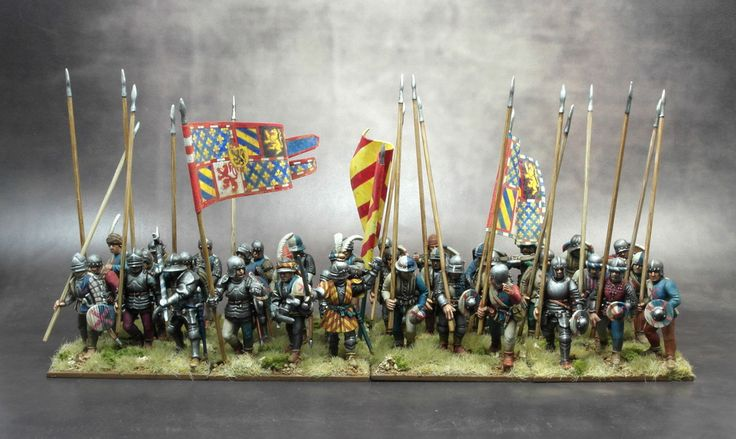 Burgundian 6th company, a very nice unit of Perry 28mm plastics painted by Darrel L. Not suprisingly he won  a first at Salute 2015 with these.