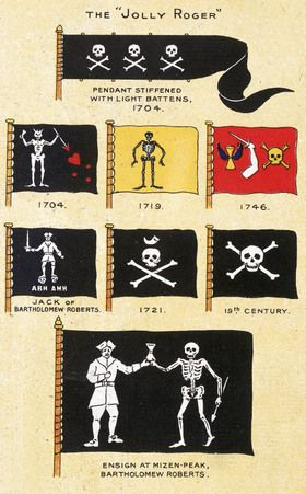 A selection of 18th century pirate flags from the National Maritime Museum, Greenwich, London