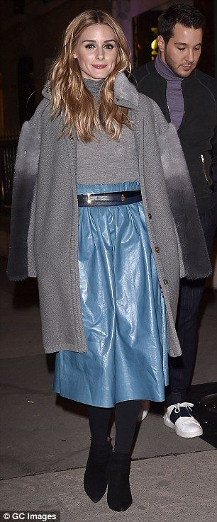 Switching it up: Palermo donned two different coats on her night out in the French capital...