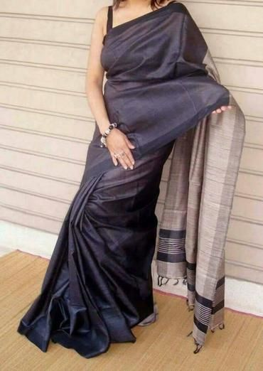 Charcoal Black handloom tussar silk saree with ghicha pallu