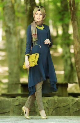 Hijab United Şifon Detaylı Tunik-Lacivert 1012-17