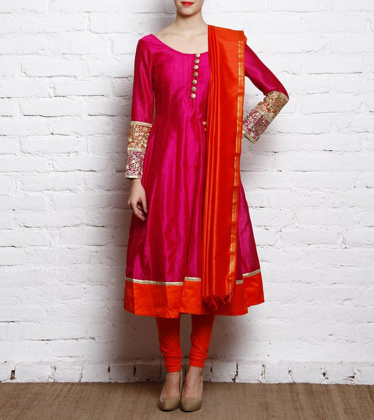 Orange And Pink Embroidered Raw Silk Anarkali Suit