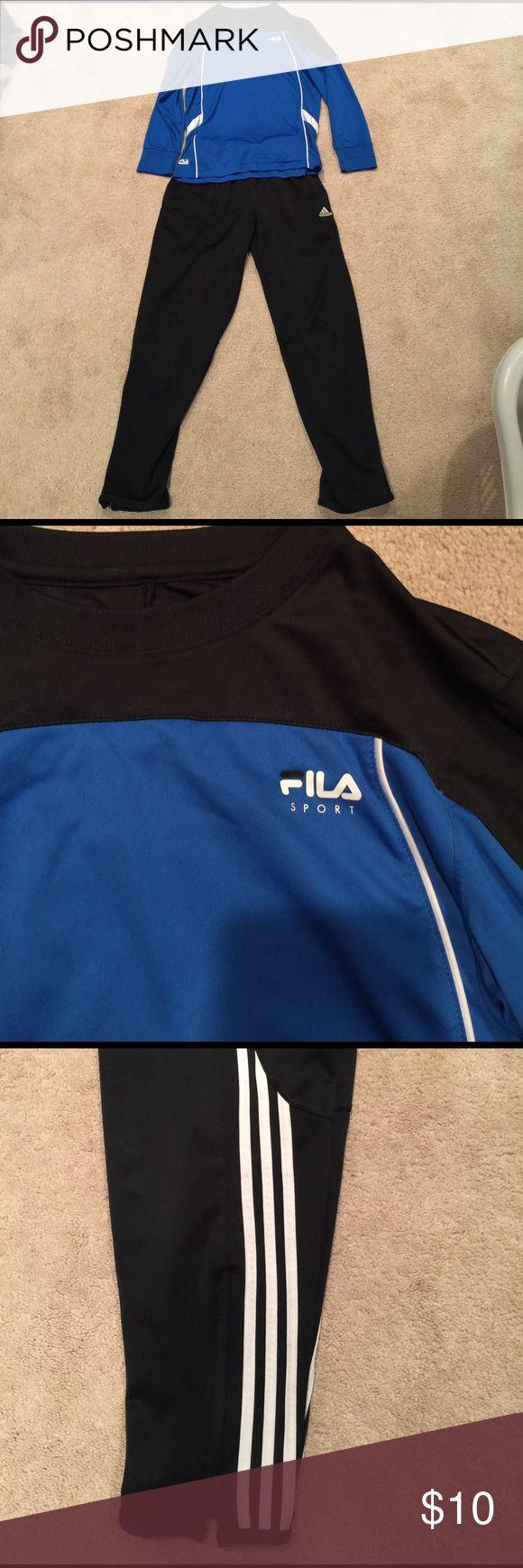 Boys Adidas Sweats and Long Sleeve Fila shirt Boys Adidas pants with Zipper bottom, size medium and FIla long sleeve shirt, size Medium Adidas Bottoms Sweatpants & Joggers