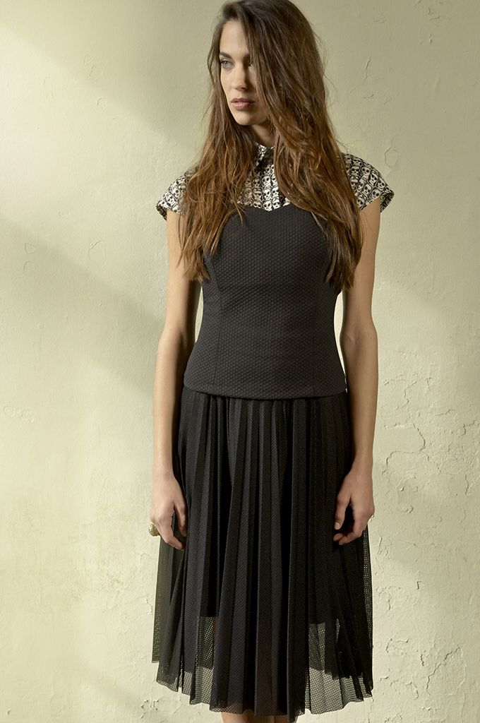 Sarah Lawrence - top with combination of two fabrics, midi pleated skirt.