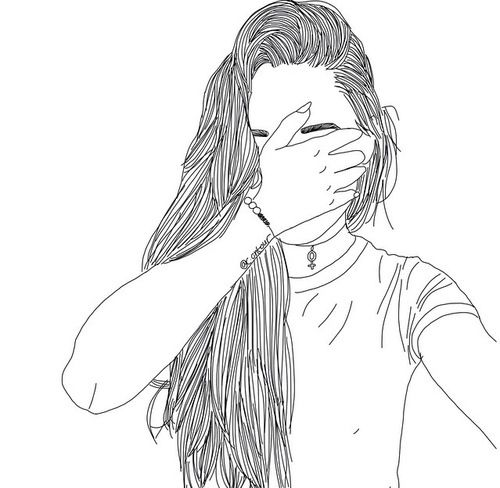drawing, girl, grunge, hipster, not mine, outline, outlines, tumblr