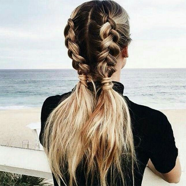 Braids into low ponytail