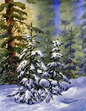 """Sun Streams Through the Trees by Artist Kendra Dixson    Sun streaming through a patch of snow covered trees.     Available in Prints and Art Cards:  8""""x10"""" Print  11""""x14"""" Print  16""""x20"""" Print     6 Pack Cards  20 Pack Cards  50 Pack Cards"""