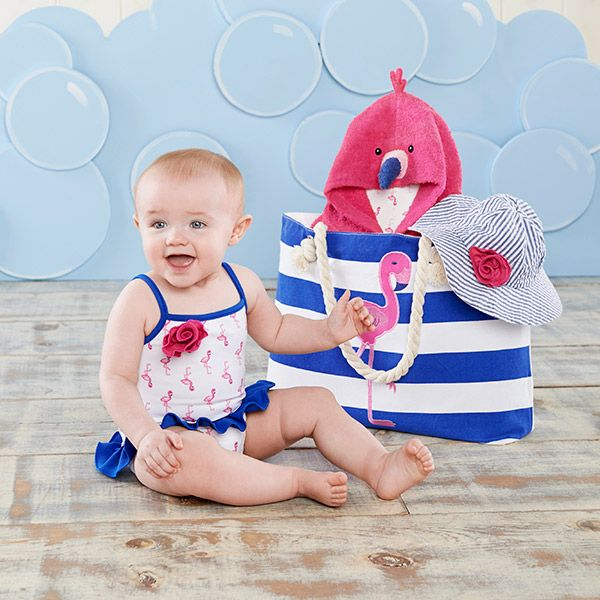 Complete with a bathing suit, towel, hat, and tote, this Flamingo Four-Piece Nautical Gift Set with Canvas Tote for Mom is a great gift pick for baby!