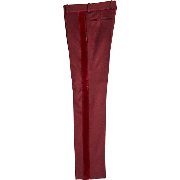 Alexander McQueen Virgin Wool Tuxedo Pants ($1,160) ❤ liked on Polyvore featuring men's fashion, men's clothing, men's pants, men's dress pants, red, mens tuxedo pants, mens holiday pants, mens red dress pants and mens red pants