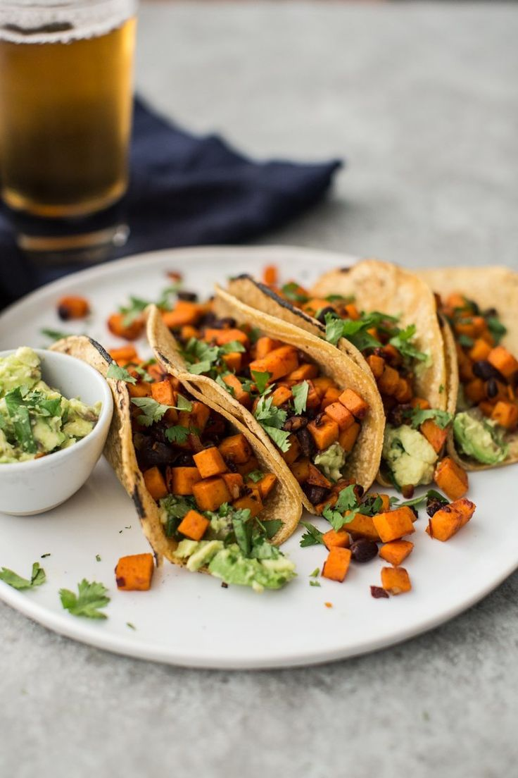 Chipotle Sweet Potato Tacos with Black Beans & Guacamole