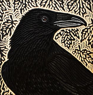 festival hall raven woodcut ~Lisa Brawn