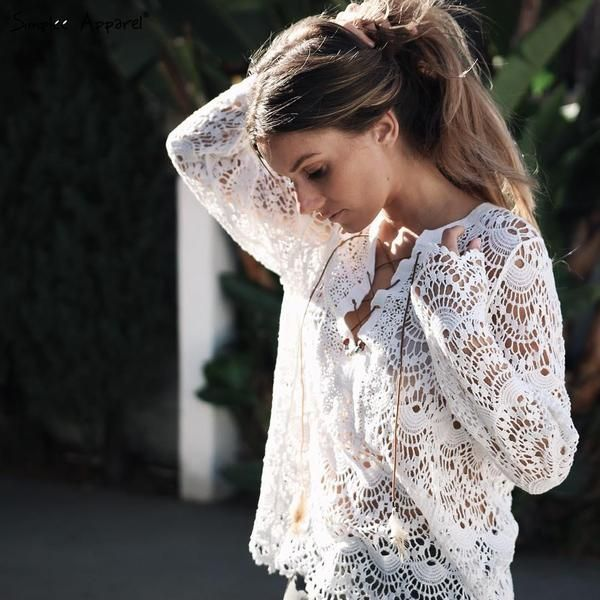 white blouse, vintage long sleeve lace top, lace blouse - Crystalline