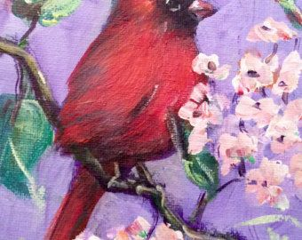 Red cardinal bird no.6 painting original art 6 x 6