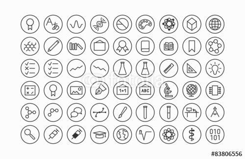 Vektor: Bildung und Wissenschaft Line Icon Set