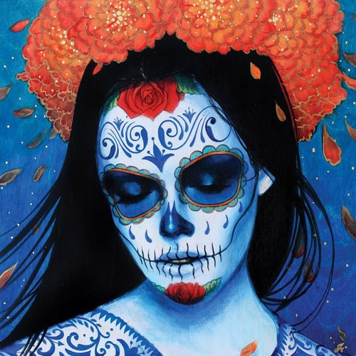 """Sylvia Ji's """"Calavera Azul"""" Print    Limited edition set of 200 fine art prints.  Image Size 10""""W x 10""""L  Paper Size 12""""W x 22""""L  Includes a Certificate of Authenticity signed and numbered by the artist  Hand-signed and numbered by the artist.  Printed on acid-free archival Moab Entrada Rag Bright watercolor paper with Epson Ultrachrome inks rated to last in excess of 75 years."""