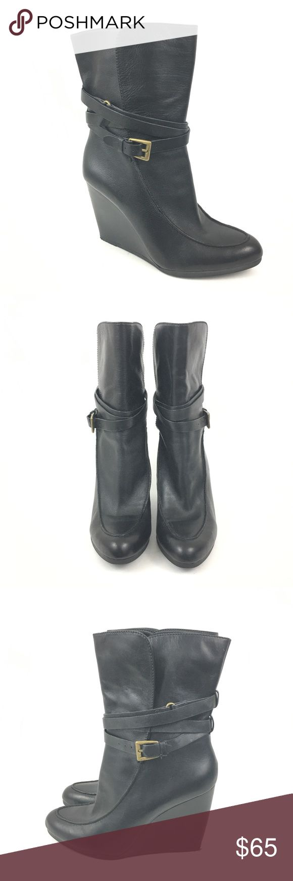 Joan & David Black Leather Wedge Ankle Boots 10M Joan & David Women's Black Daflorita Leather Wedge Pointy Ankle Boots Size 10M. Excellent condition. Joan & David Shoes Ankle Boots & Booties