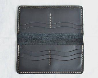 Handmade wallet Mens leather wallet Hand sewing Brown wallet Gift for men Long wallet for 10Cards