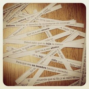 Rearrange song lyric strips for listening activity.