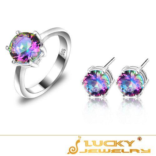 Неповторимый шарм романтическая радуга мистик топаз 925 серебряные серьги и кольцо как женщины свадьба ювелирные комплекткупить в магазине lucky jewelry mallнаAliExpress