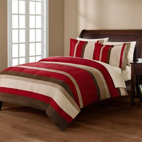 You can't go wrong with the Boulder Stripe Microsuede Comforter Mini Set. This striped bed is made from piecing together the highest quality micro-suede, in beautiful red and brown colors, that gives this bed a super soft feel and great color scheme. The set includes a comforter and two king shams.
