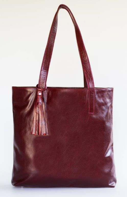Mally marsala leather tote handbag