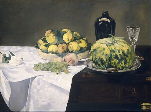 """Still Life with Melon and Peaches"", c.1866, Edouard Manet."