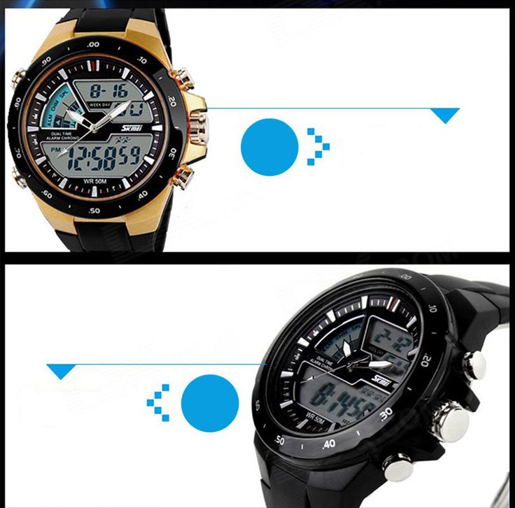 SKMEI 1016 Men's Waterproof Analog + Digital Sports Watch - Black - Free Shipping - DealExtreme