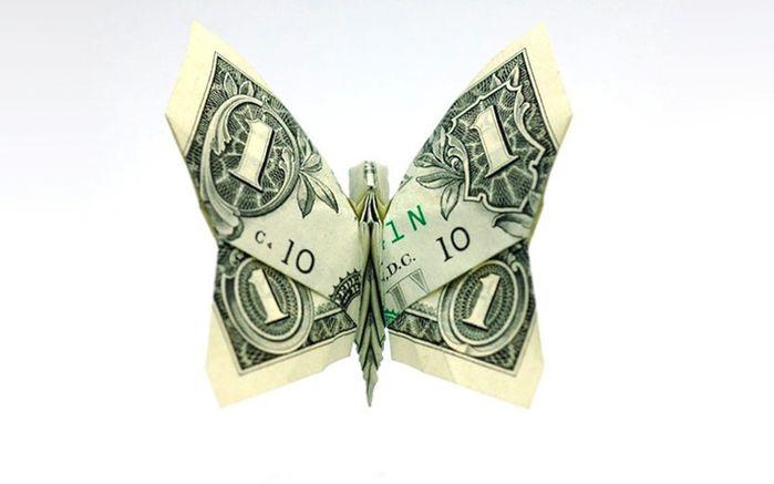 оригами из долларов (700x437, 122Kb)