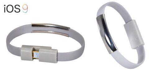 Armband Ladekabel USB Datenkabel 8-pin zu USB - kompatibel mit neusten iOS Updates - in grau (in verschiedenen Farben erhältlich) für iPhone SE, iPhone 6s, iPhone 6s Plus, iPhone 6, iPhone 6 Plus, iPhone 5s, 5c, 5, iPad Pro, iPad Air 1-2, iPad Mini, iPod von PhoneStar für 9,95 € #armband #bracelet ,grey #fiftyshadesofgrey #charger #armreif #cable #energy #stylish
