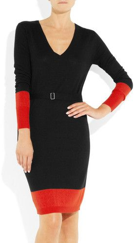 McQ Alexander McQueen Color Block Fine Knit Sweater Dress