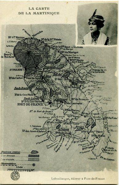 La Martinique, zones touchées par la catastrophe en 1902 - Mont Pelée