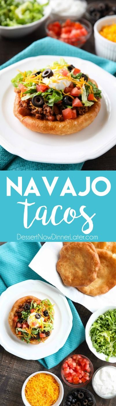 These easy Navajo Tacos (also known as Indian Fry Bread) are quick to whip up for dinner, smothered with a beef and bean taco filling, and finished with all the classic taco toppings. A fair food favorite made easily at home! @rhodesbread #ad