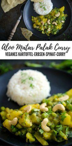 Veganes Aloo Matar Palak Curry / Kartoffel Erbsen Spinat Curry vegan